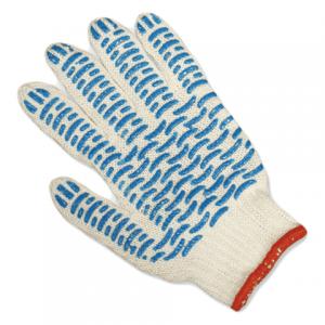 Перчатки трикотажные х/б синяя ПВХ Волна