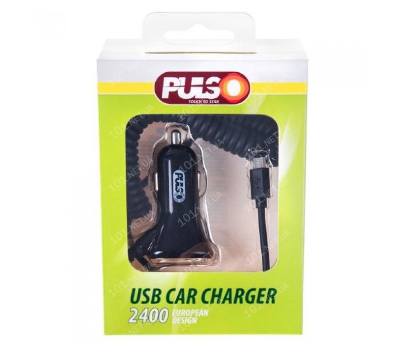 Автомобильное зарядное устройство PULSO C-2407BK 1USB + Android (12 / 24V - 5V 2,4A)