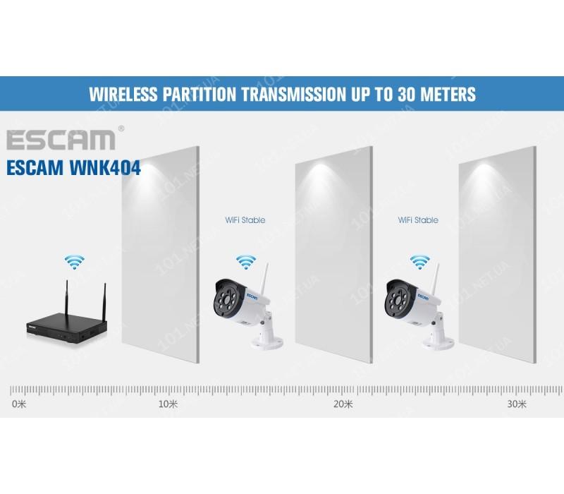 Комплект видеонаблюдения ESCAM WNK404 4CH 720P Wireless NVR KITS EU