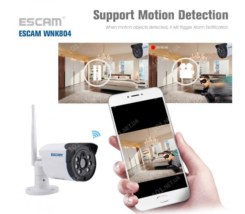 Комплект видеонаблюдения ESCAM WNK804 8CH 720P Wireless NVR KITS EU