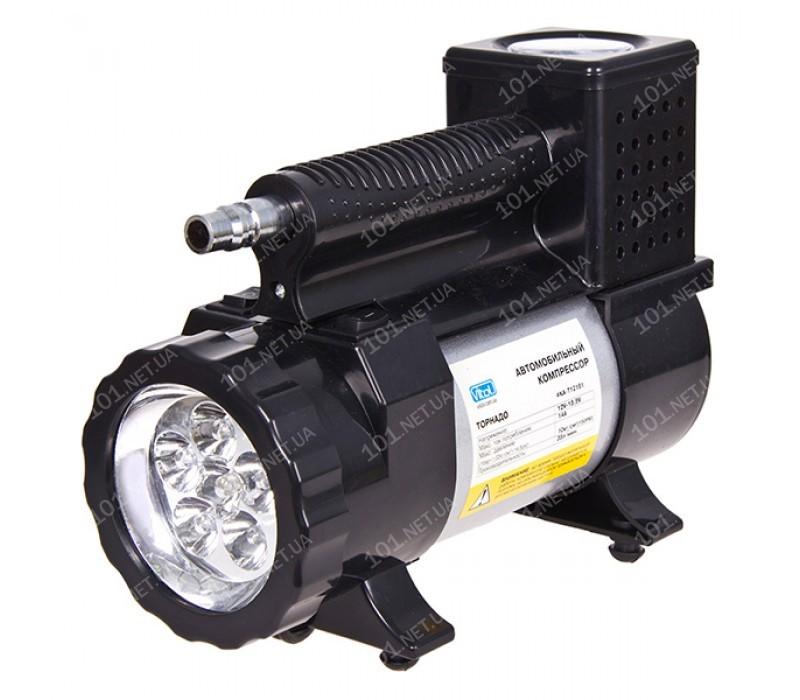 Компрессор Торнадо КА-Т12181 150psi/15Amp/40л/фонарь/прикур.+переходник/шланг 3,0м