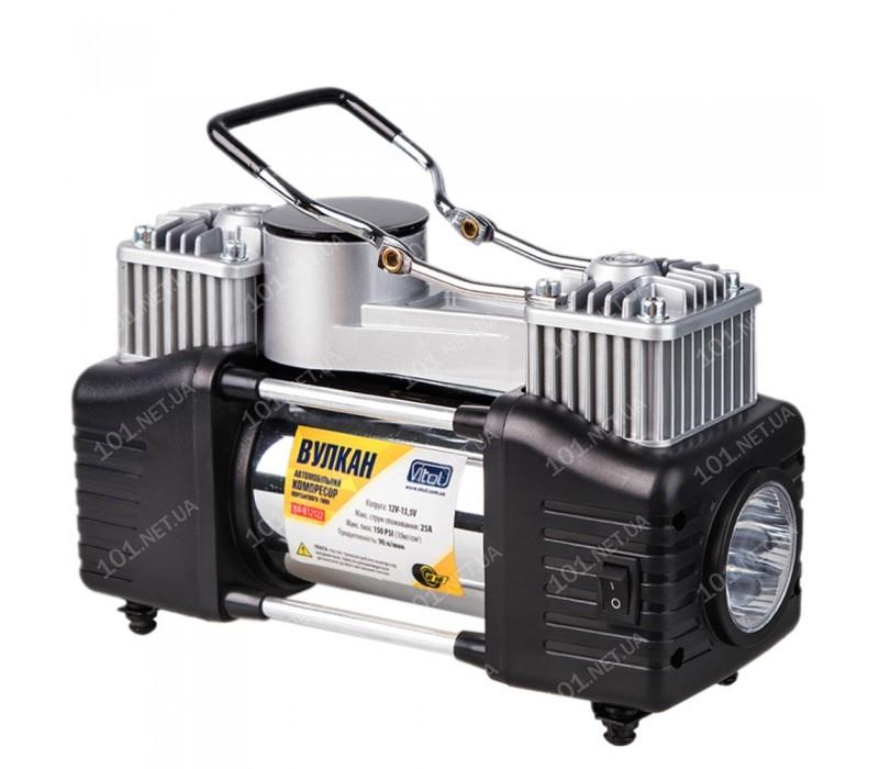 Компрессор Вулкан КА-В12122 150psi/25Amp/90л/клеммы/шланг7,5м с дефлятором/фонарь/2 цилиндра