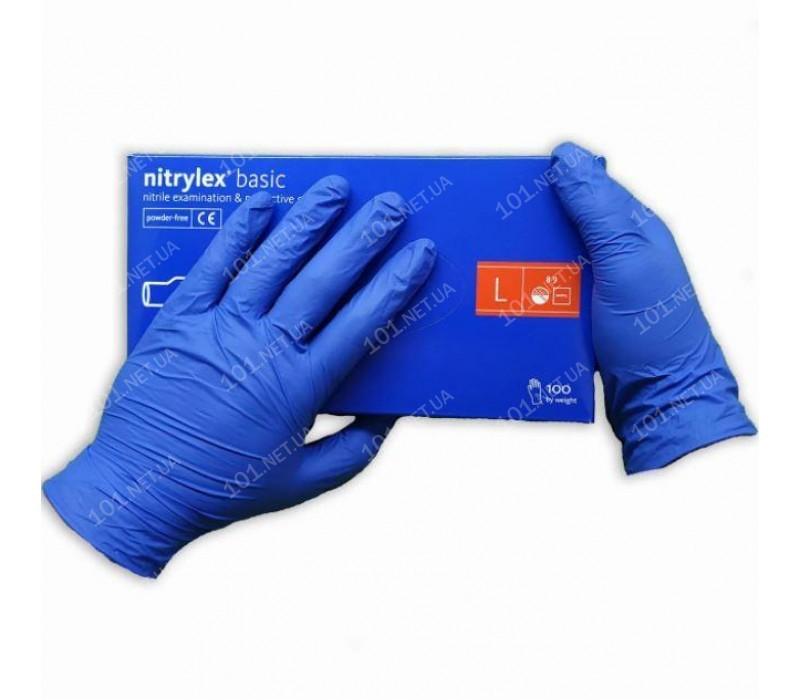 Перчатки нитриловые неопудренные L 100