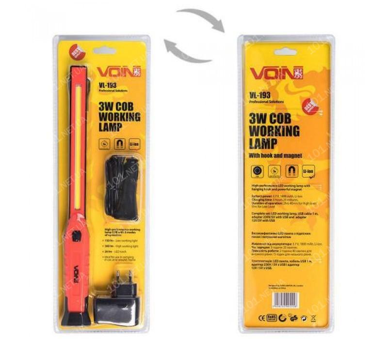 Переносная лампа VOIN VL-193 12V/220V/3W-COB+2 LED-НР/АКБ/USB+microUSB/магнит (VL-193)
