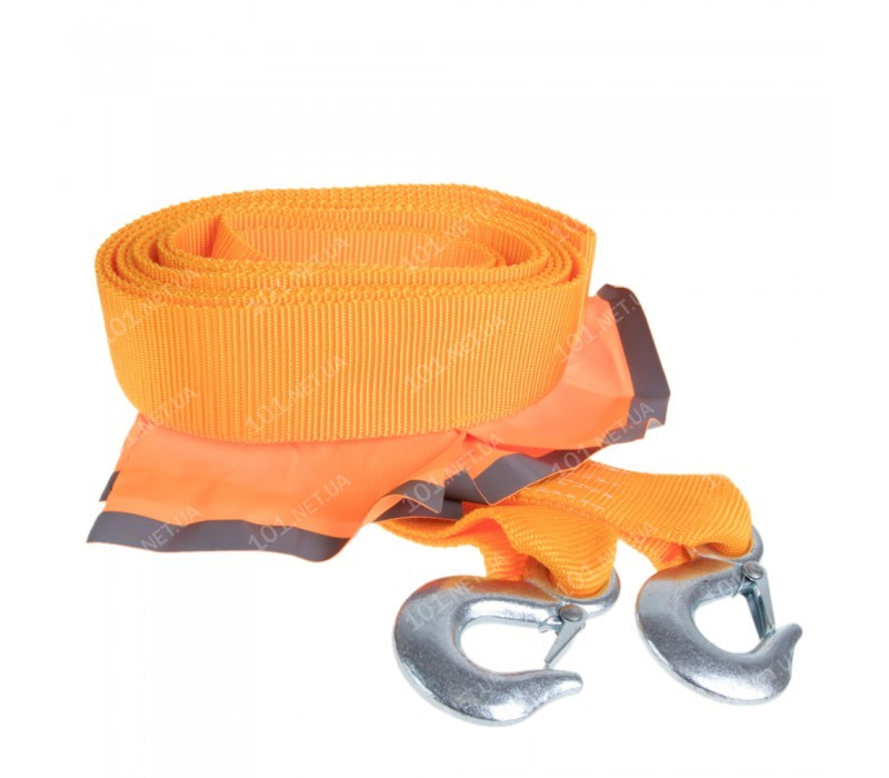 Трос буксировочный ТР-250-6-3  6т лента 60мм х 5м оранж/2крюка/флажки/сумка