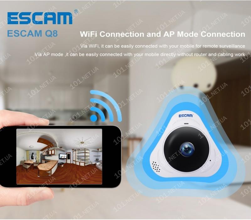 WiFi IP камера ESCAM Q8 B Fish eye